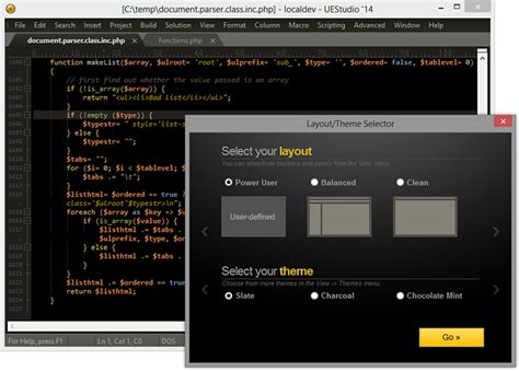 html css layout manager uestudio v15 with git tour new features