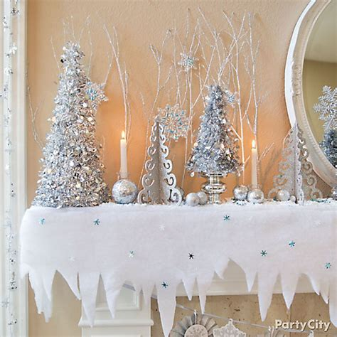 trees and icicles mantel decorating idea party city