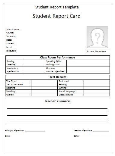 student progress report template student report template printable templates