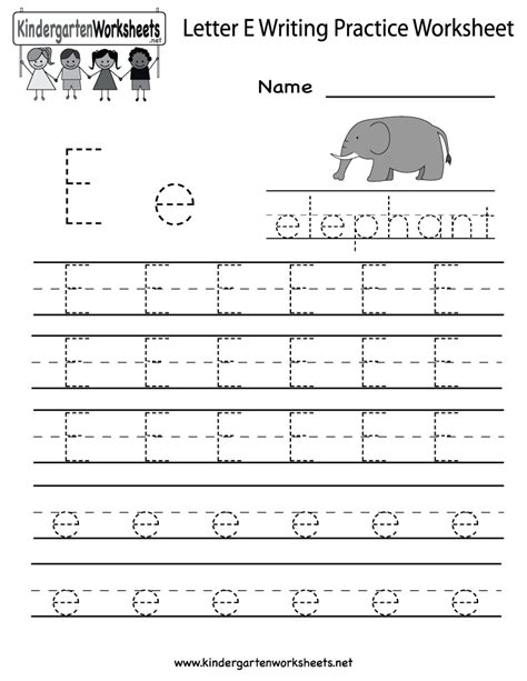 printable alphabet letter e kindergarten letter e writing practice worksheet printable