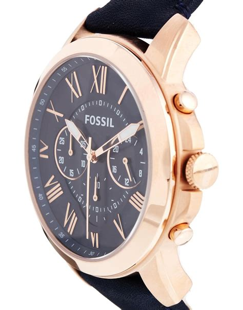 Fossil Fs 4835 Leather Blue Black Grade fossil grant blue leather chronograph fs4835