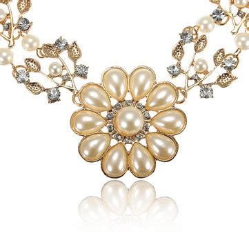 Pearl Flower Collar Necklace 68527617585608 flower pearl bib choker collar necklace chain at banggood sold out