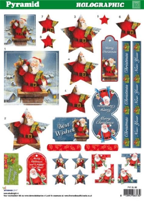 holographic santa claus foil play a4 pyramid holographic decoupage sheet by studiolight