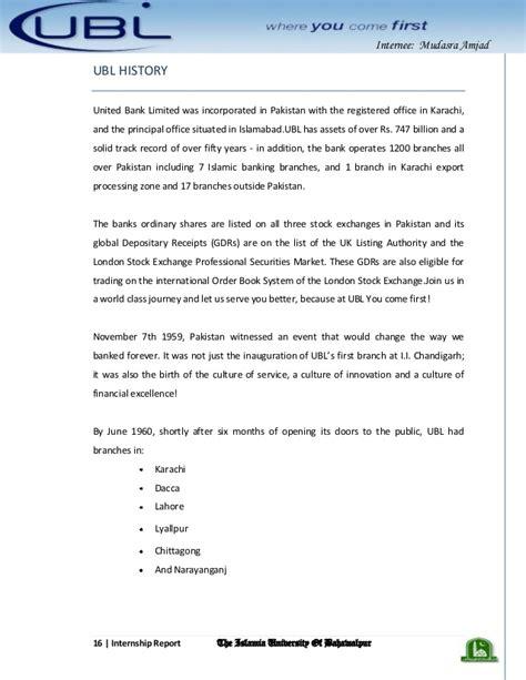 Ubl Bank Letterhead U B L Bank Internship Report