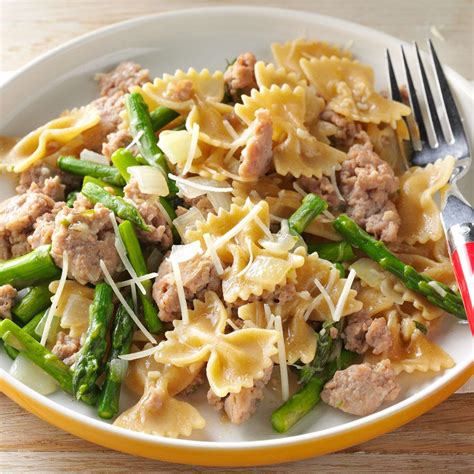 Todays Special Pasta With Sausage Basil And Mustard by Bow Ties With Sausage Asparagus Recipe Taste Of Home