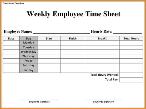 simple weekly timesheet template simple weekly timesheet template