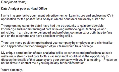 Cover Letter For Data Analyst by Data Analyst Cover Letter Exle Learnist Org