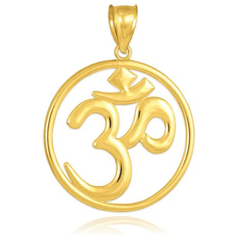 gold om ohm medallion openwork pendant yellow white