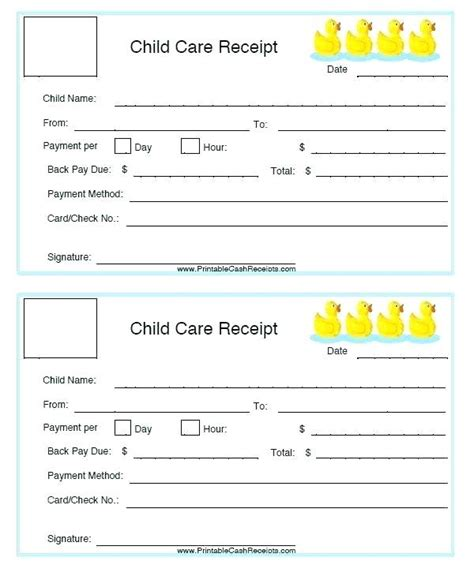 child care receipt template canada daycare receipt template daycare invoice excel template