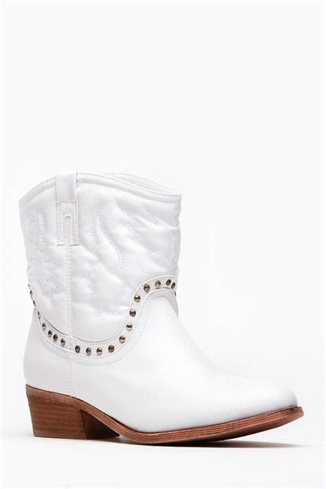 bamboo white ankle length cowboy boots cicihot boots