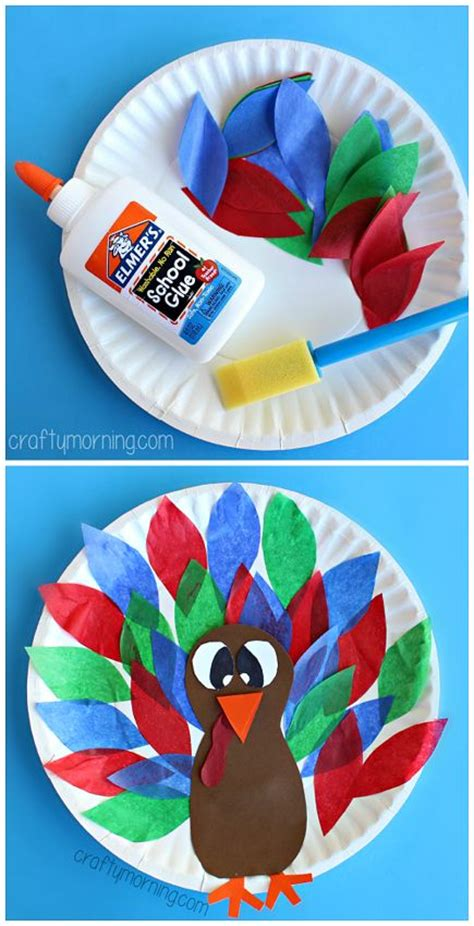 Tissue Paper Turkey Craft - 10 festive thanksgiving activities for the