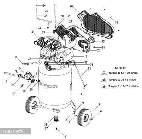 husky 30 gallon air compressor c302h parts