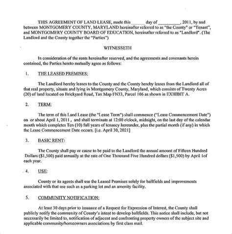 9 Sle Land Lease Agreement Templates Sle Templates Ground Lease Agreement Template