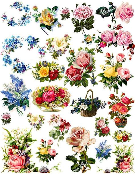 Printable Decoupage - vintage flowers digital collage sheet decoupage