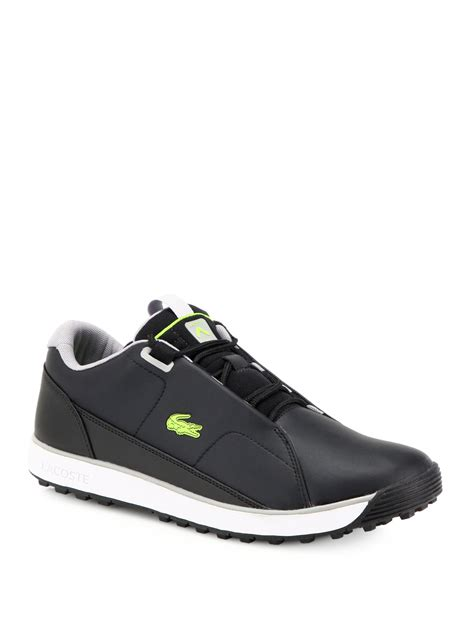 lacoste leather sneakers lacoste leather running sneakers in black for lyst