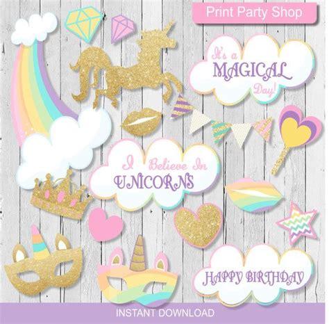printable unicorn photo booth props unicorn party photobooth props printable file instant
