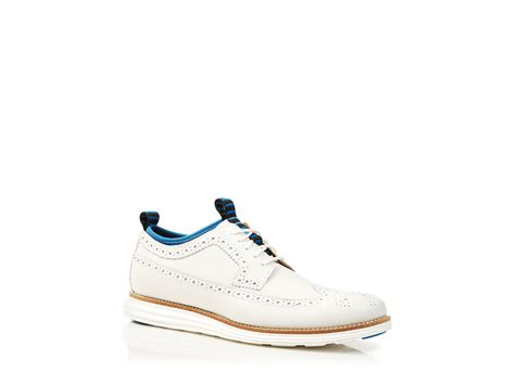white wingtip oxford shoes lyst cole haan lunargrand wingtip neoprene oxfords in white
