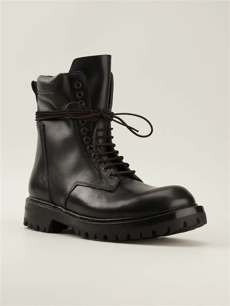 combat boots black rick owens combat boots in black for lyst