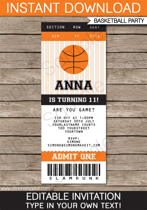 sports ticket invitation template 5 best images of free printable basketball birthday