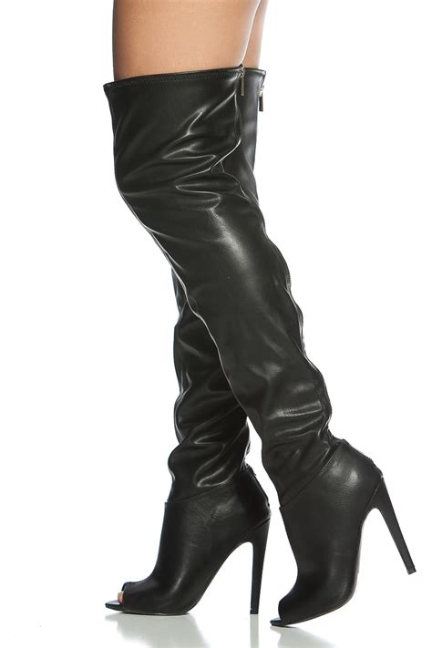 black faux leather thigh high peep toe boots cicihot