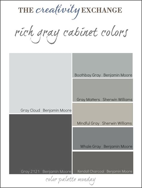 Collection of some of the most popular gray paint colors used for