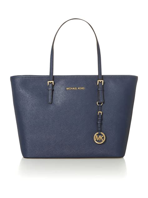Michael Kors Jet Set Navy michael kors jet set travel navy medium ew tote bag in blue lyst