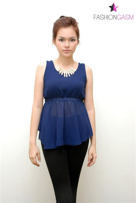 Andiani Navy Fit L Cc 1 sweetheart peplum top idr 110 000 in navy blue color all