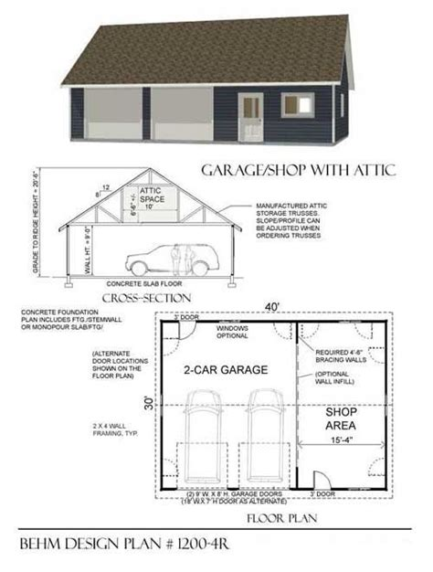 garage workshop designs two car garage with shop and attic truss roof plan 1200 4r