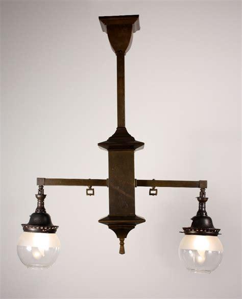Antique Gas Chandelier Splendid Antique Brass Arts Crafts Two Light Gas Chandelier C 1908 For Sale Antiques