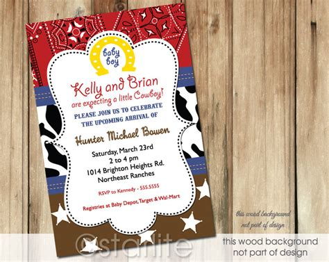 Western Baby Shower by Starlite Printables Invitations Stationery Cowboy Western Theme Baby Shower Invitations
