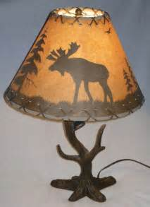 table l with aged paper shade with moose