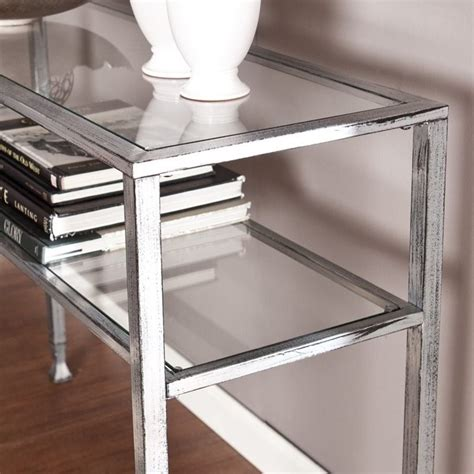 black metal and glass console table southern enterprises metal glass console table in silver