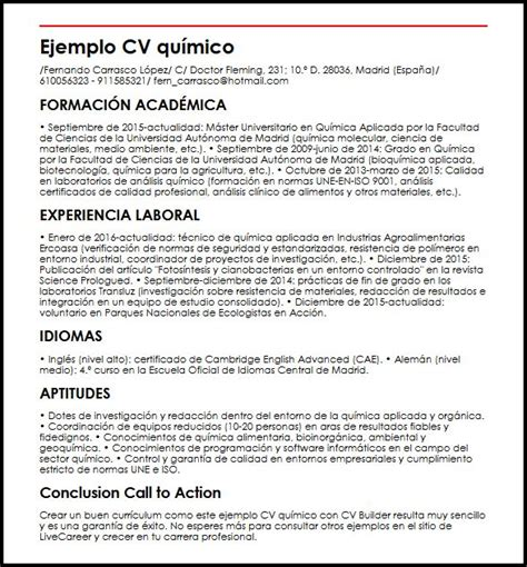 Modelo De Curriculum Vitae Quimico Ejemplo Cv Quimico Micvideal
