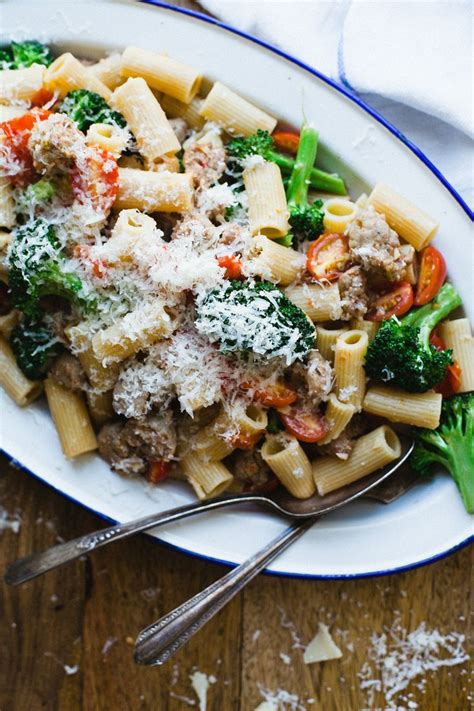 pasta sausage emeril s rigatoni with broccoli and sausage recipe dishmaps