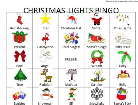 valley family fun christmas light bingo