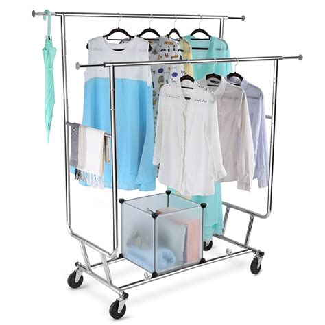 Clothes Rack Hanger by Heavy Duty Rail Collapsible Portable Clothes Hanger