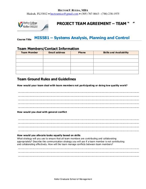 team agreement template project team agreement