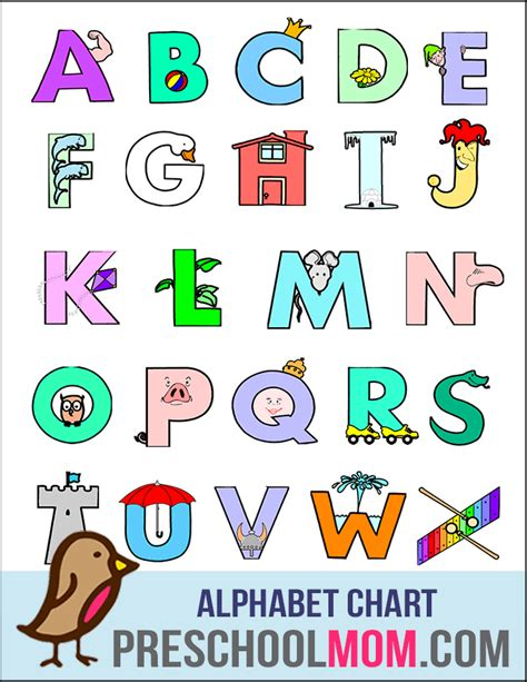 printable kindergarten alphabet chart preschool printables alphabet educational pinterest