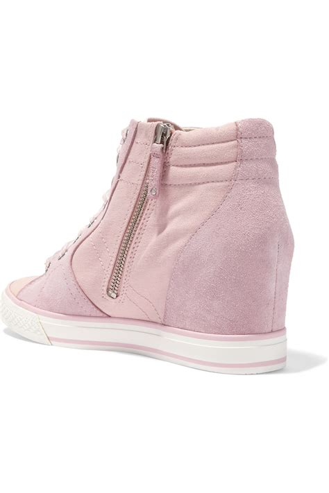 pink wedge sneakers dkny suede and canvas wedge sneakers in pink lyst