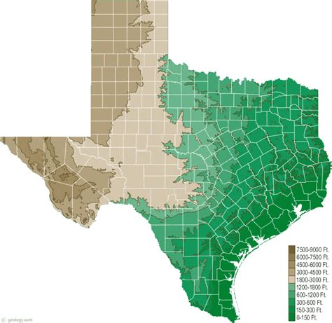 texas in the map texas physical map and texas topographic map