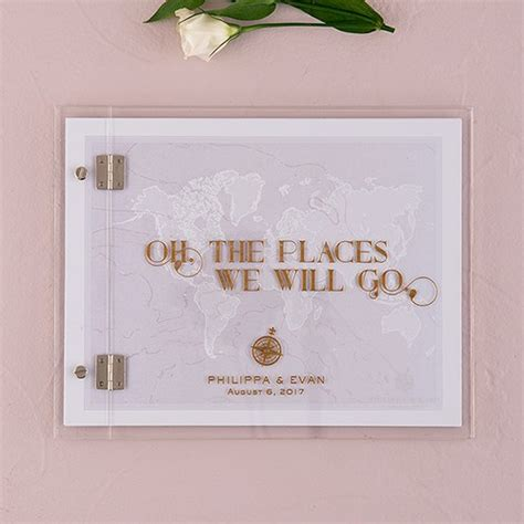 Wedding Guest Book Cover Diy by Vintage Travel Personalized Wedding Guest Book With Clear