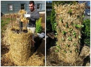 straw tower vertical garden vertical gardening