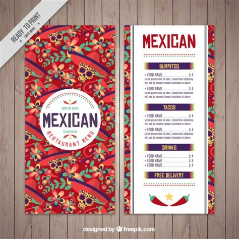 mexican menu template of skulls vector free