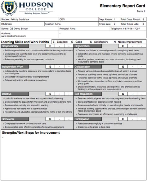 College Report Card Template by The Hudson College Report Card Template School