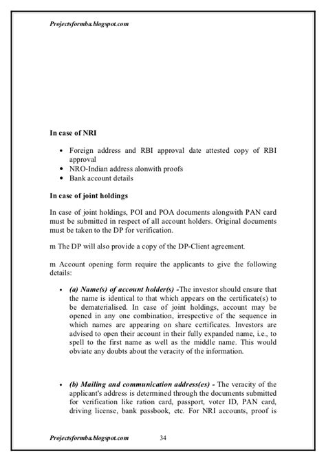 Request Letter For Joint Account A Project Report On Demat Account At Unicon Securities Pvt