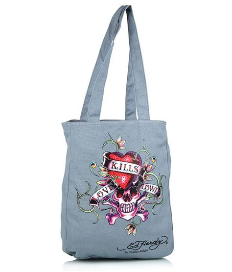 buy ed hardy gray canvas cloth tote bag at best prices in