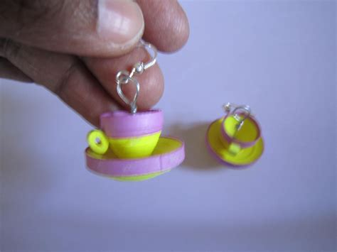How To Make Paper Earrings Water Resistant - handmade jewelry paper quilling cup saucer earrings