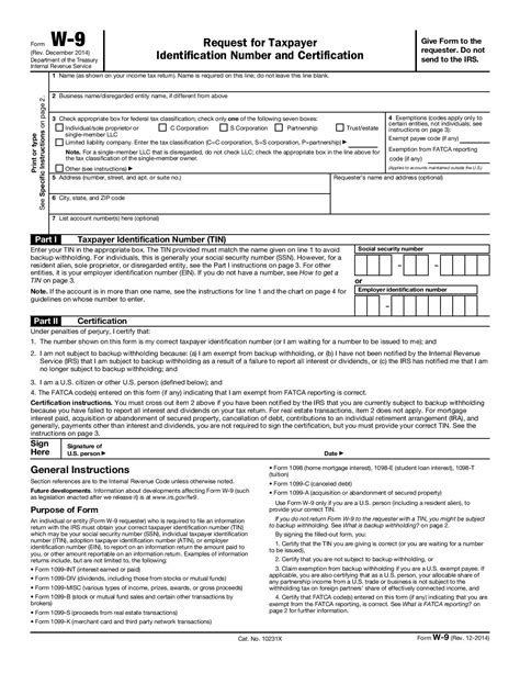 certification letter for tin number free form w 9 request for taxpayer identification number