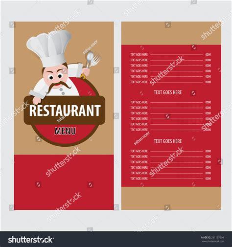 template for menu card design restaurant menu card design template stock vector