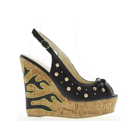 Sendal Wedges 13 Black Heel Wedge Sandals 13 5 Cm Platform Studded Chaussmoi
